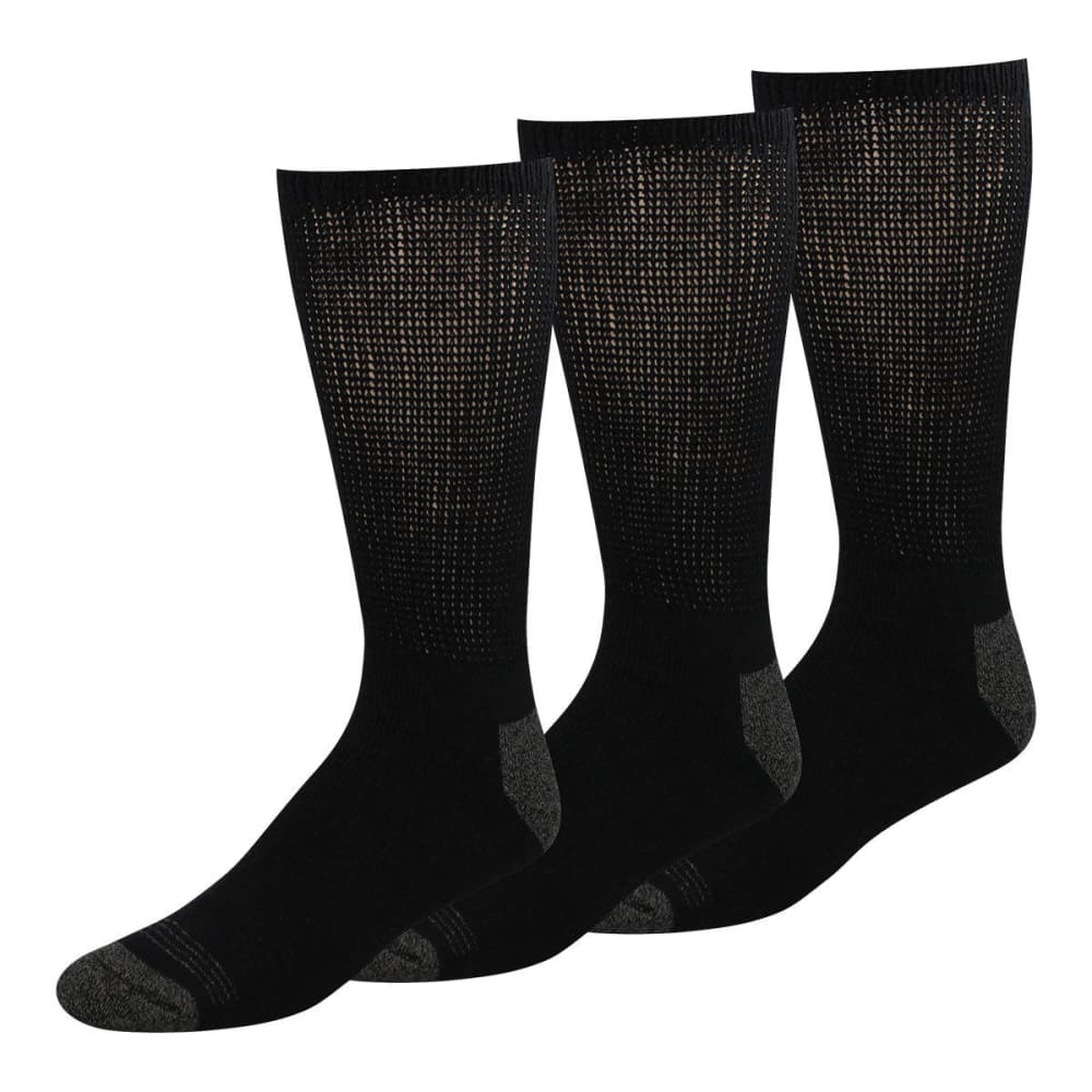 DOCKERS Men's Non-Binding Crew Socks, 3-Pack - BLACK
