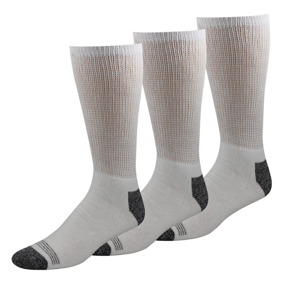 DOCKERS Men's Non-Binding Crew Socks, 3-Pack - WHITE