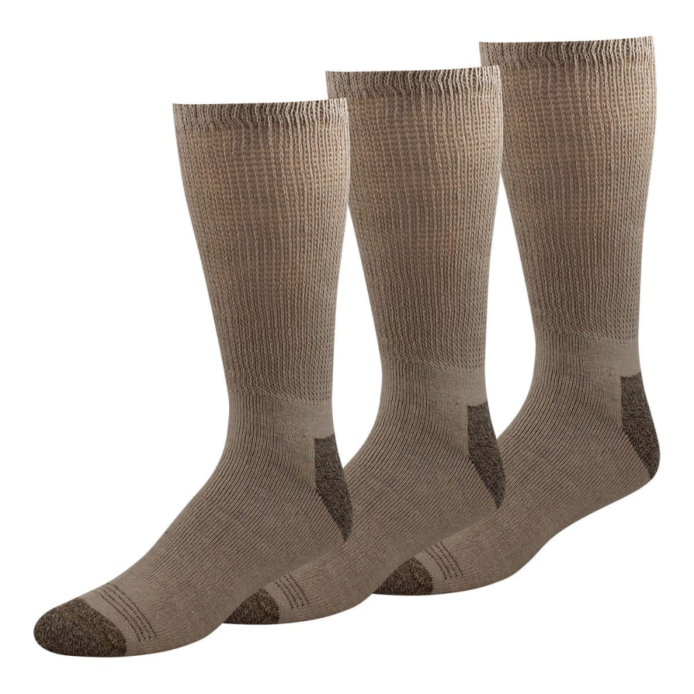 DOCKERS Men's Non-Binding Crew Socks, 3-Pack - KHAKI