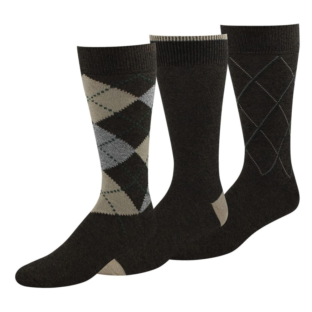 DOCKERS Men's Metro Argyle Crew Socks, 3-Pack - BROWN