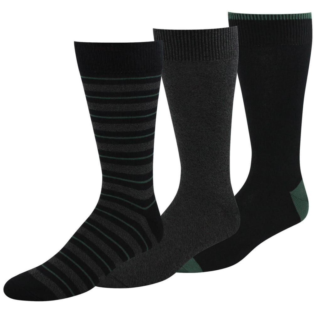 DOCKERS Men's Metro Sport Stripe Socks, 3-Pack - BLACK