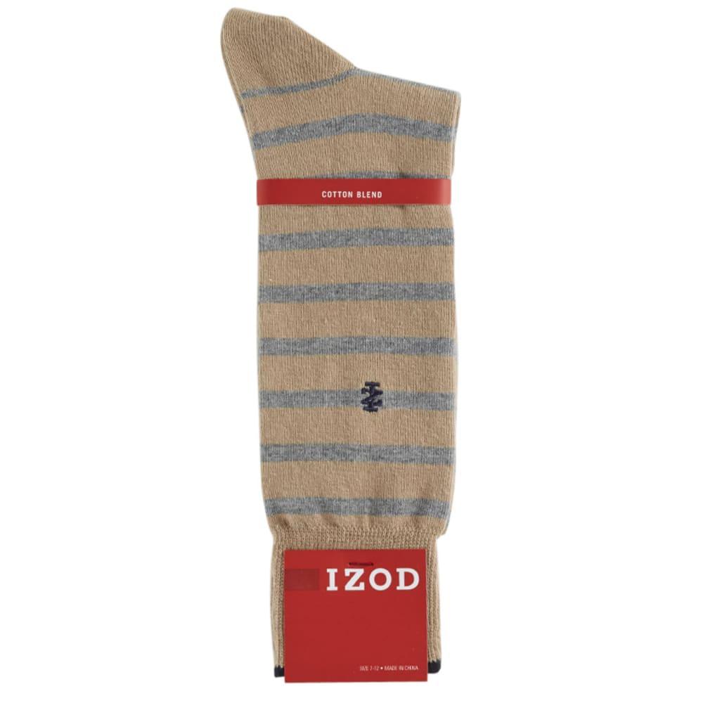 IZOD Men's Maine Stripe Crew Socks - BRITISH KHAKI