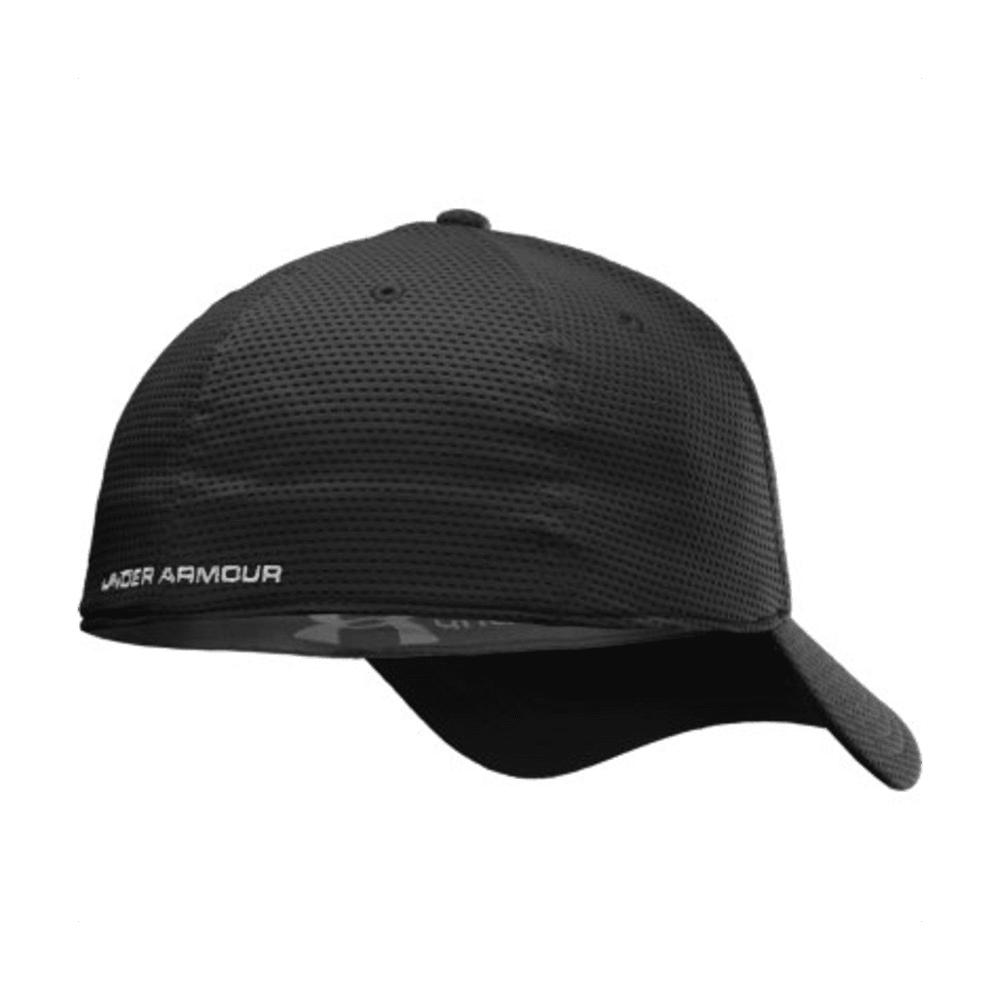 UNDER ARMOUR Men's Blitzing Stretch Fit Cap - BLACK/NEPTUNE