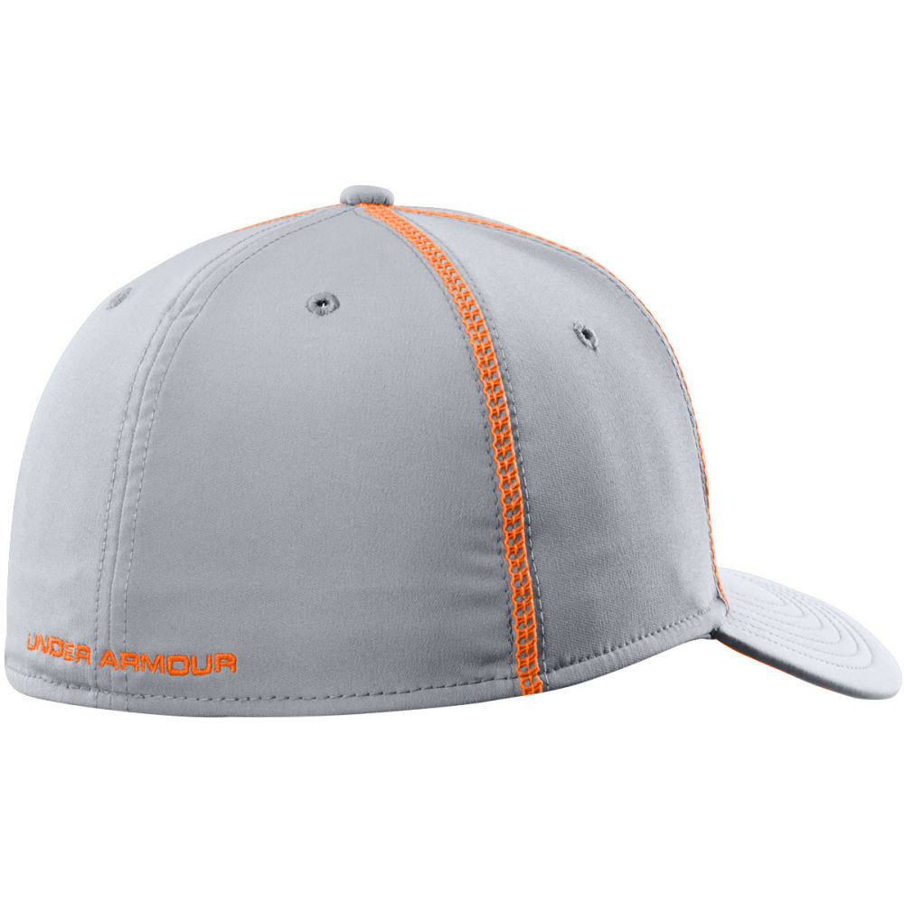 UNDER ARMOUR Men's Huddle Stretch Fit Cap - STEEL/ORANGE