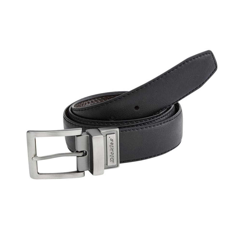 DICKIES Men's Reversible Logo Buckle Belt - BLACK/BROWN