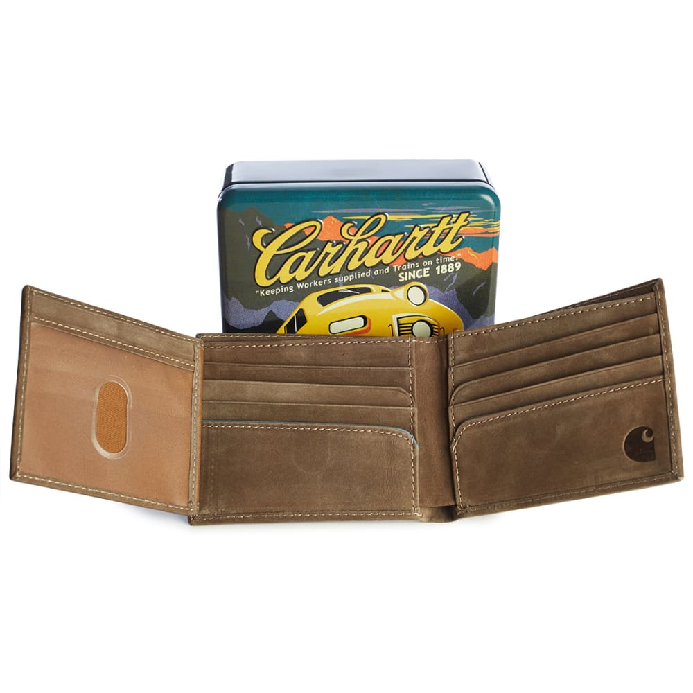 CARHARTT Two-Tone Billfold with Wing Wallet and Collectible Tin - BROWN