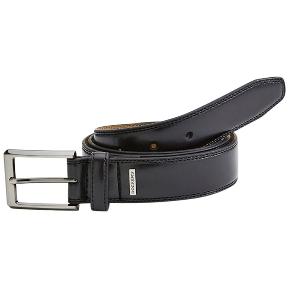 DOCKERS Men's Feathered Edged Stitching Belt - BLACK GREY HEATHER
