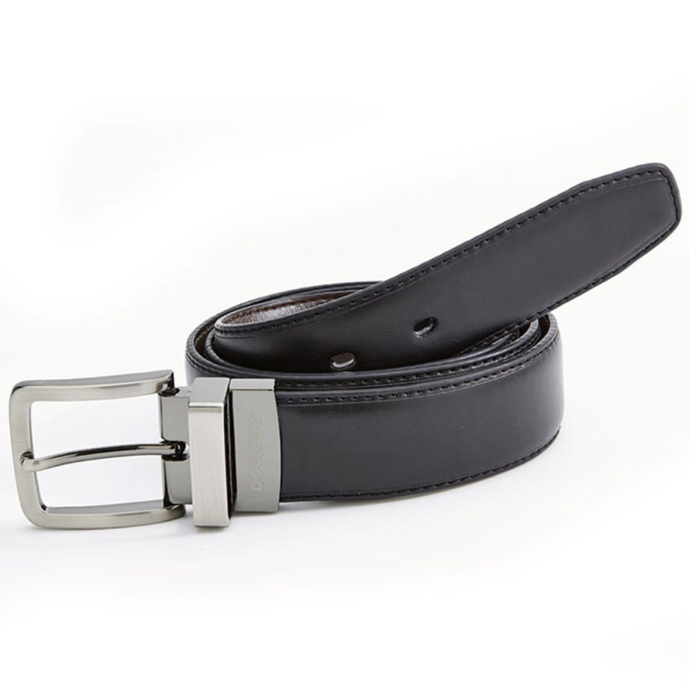 DOCKERS Men's Reversible with Stitching Belt - BLACK/BROWN