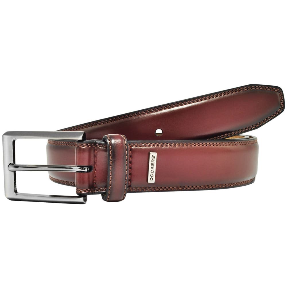 DOCKERS Men's Stitched Ornament Leather Belt - 207 COGNAC
