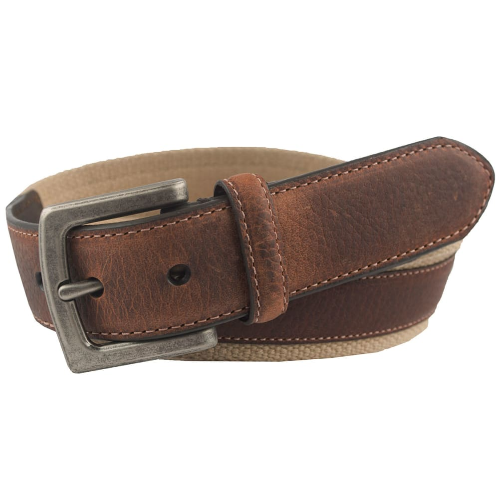 Columbia Men's Canvas Leather Overlay Belt - Brown, 32
