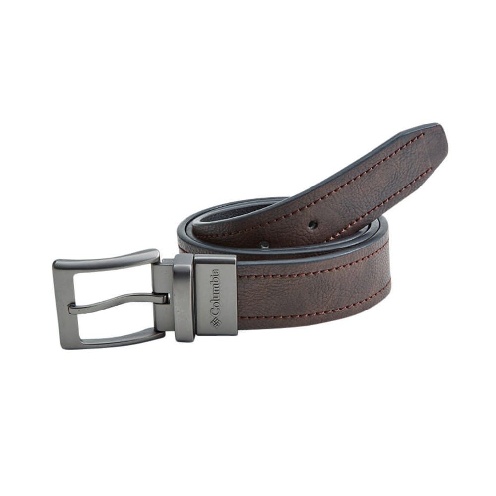 COLUMBIA Men's Reversible Logo Buckle Belt - BROWN/BLACK