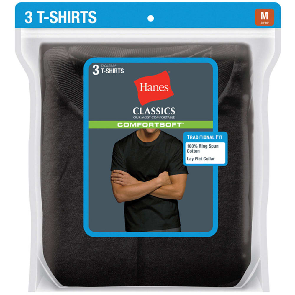 HANES Men's Classics ComfortSoft Crew Neck Tees, 3-Pack  - BLACK 7873B3