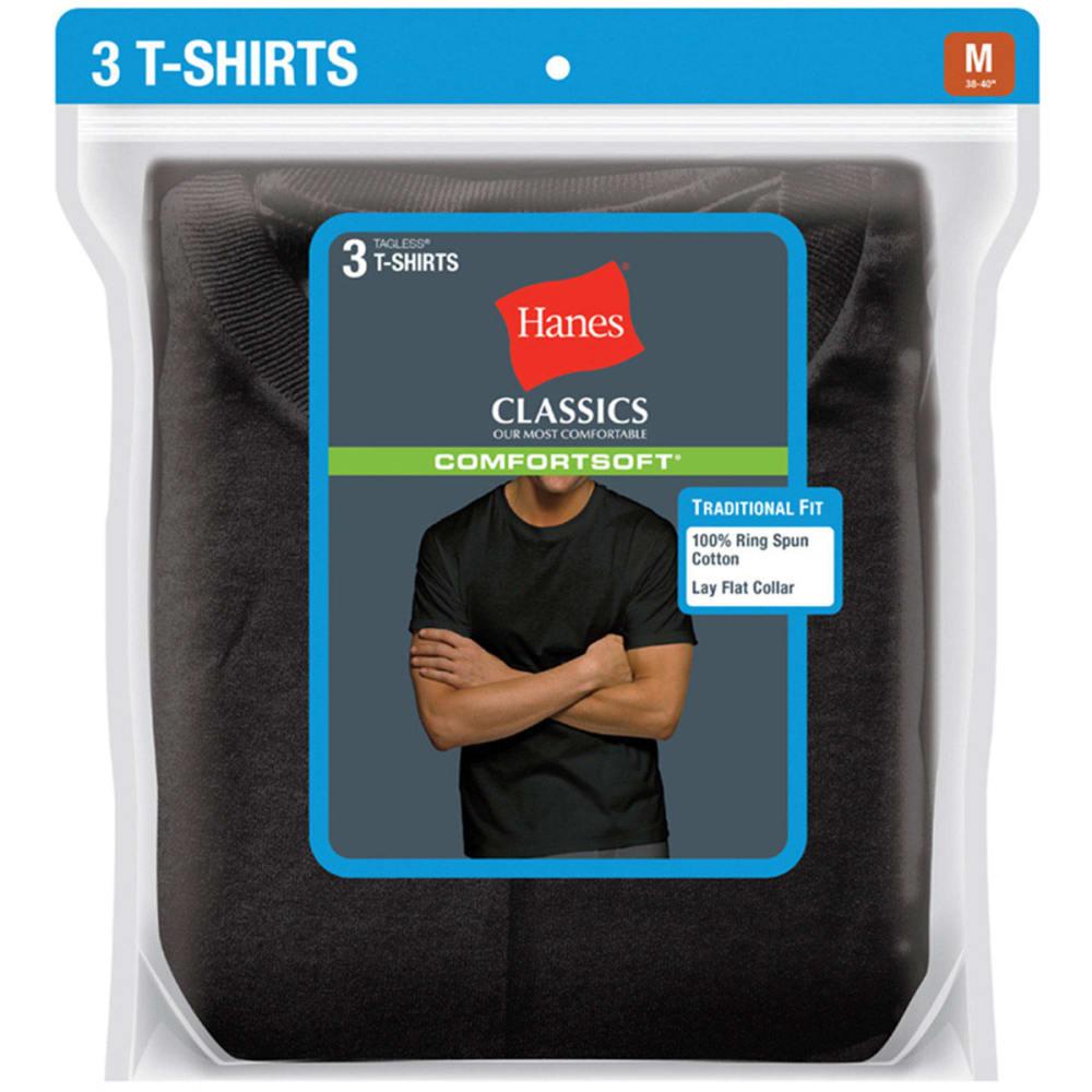 HANES Men's Classics ComfortSoft Crew Neck Tees, 3-Pack - BLACK 7873B3
