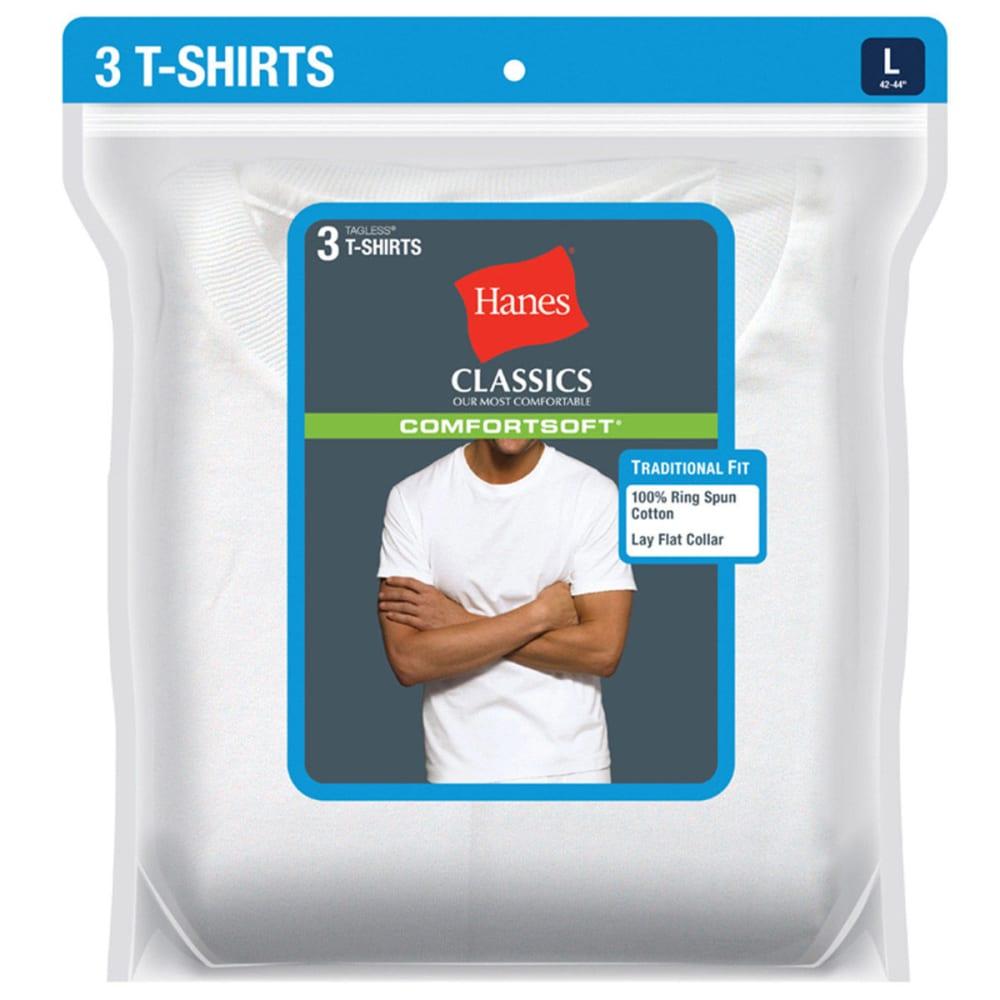 HANES Men's Classics ComfortSoft Crew Neck Tees, 3-Pack - WHITE