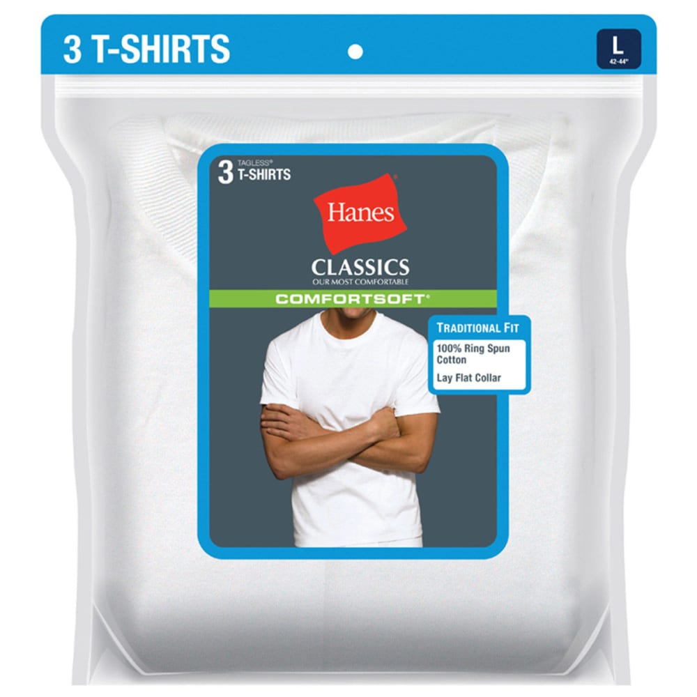 HANES Men's Classics ComfortSoft Crew Neck Tees, Extended Sizes, 3-Pack  - WHITE
