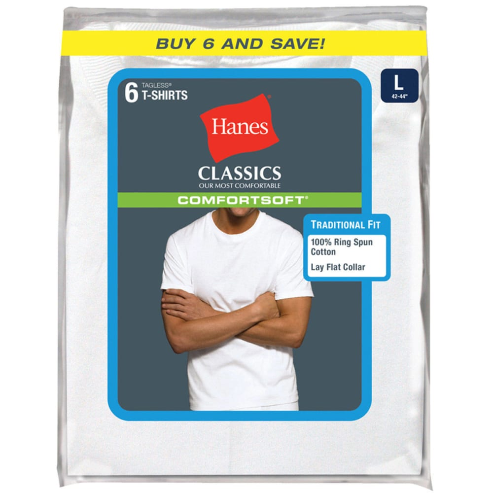 HANES Men's Classics Comfortsoft Tagless Tees, 6-Pack  - WHITE