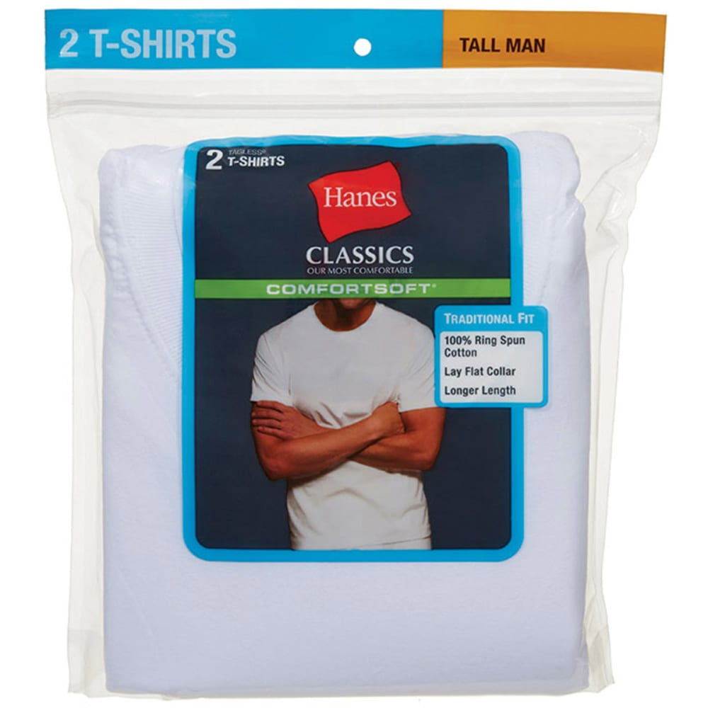 HANES Men's Classics Comfortsoft Tagless Tees, Tall, 2-Pack  - WHITE