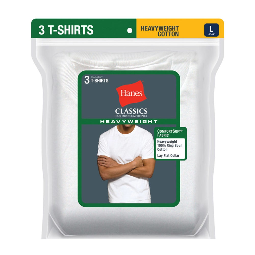 HANES Men's Classics Heavyweight Tagless Tees, 3-Pack - WHITE