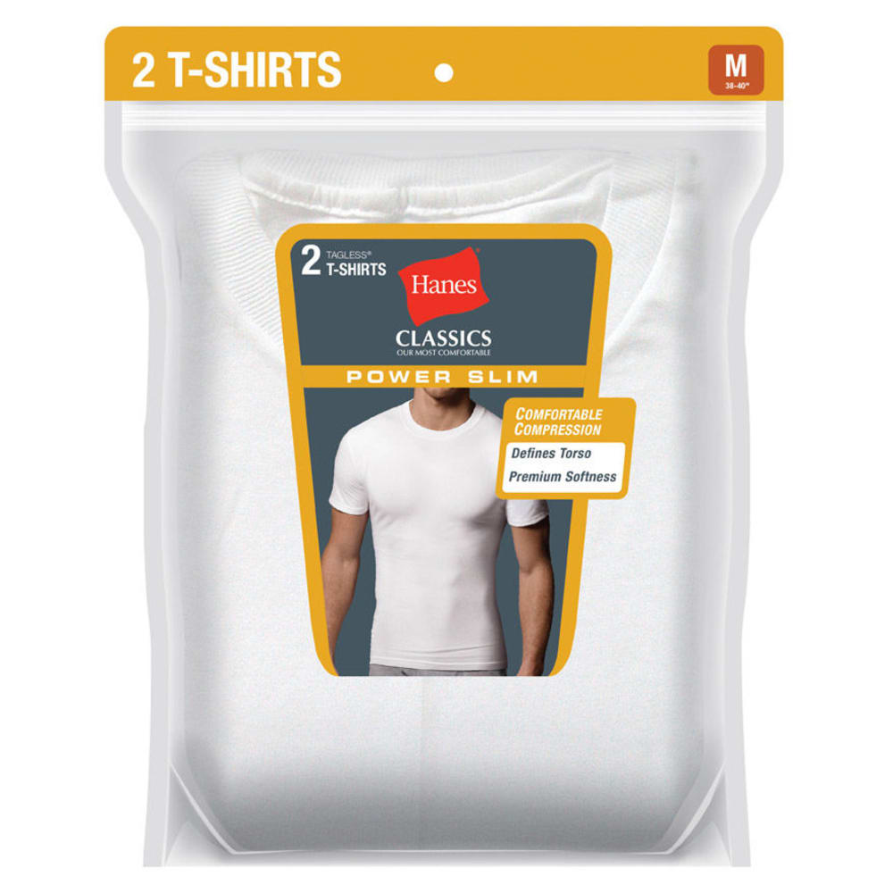 HANES Men's Classics Power Slim Tagless Tees, 2-Pack  - WHITE