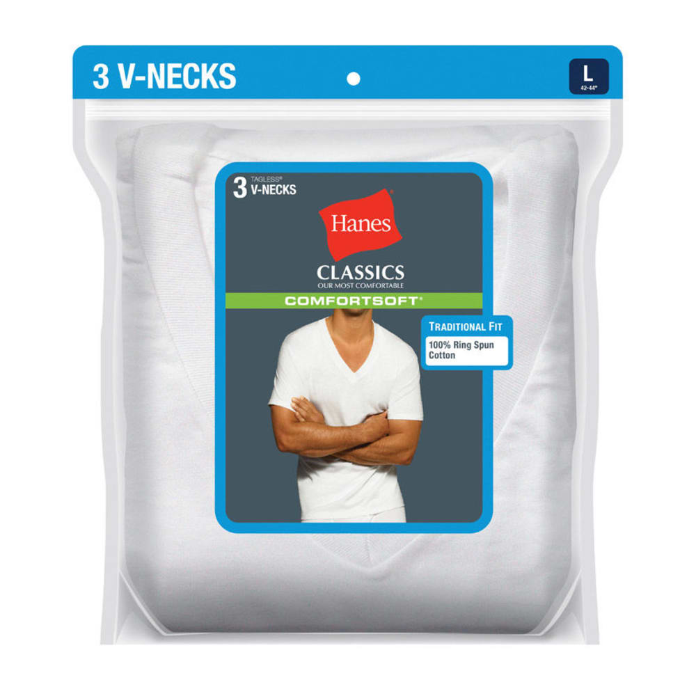 HANES Men's Classics ComfortSoft V-Neck Tees, 3-Pack  - WHITE