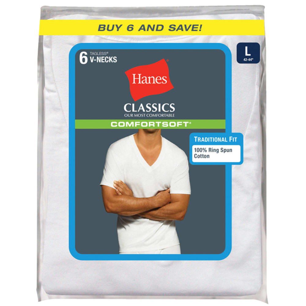 HANES Men's Classics Comfortsoft Tagless V-Neck Tees, 6-Pack - WHITE