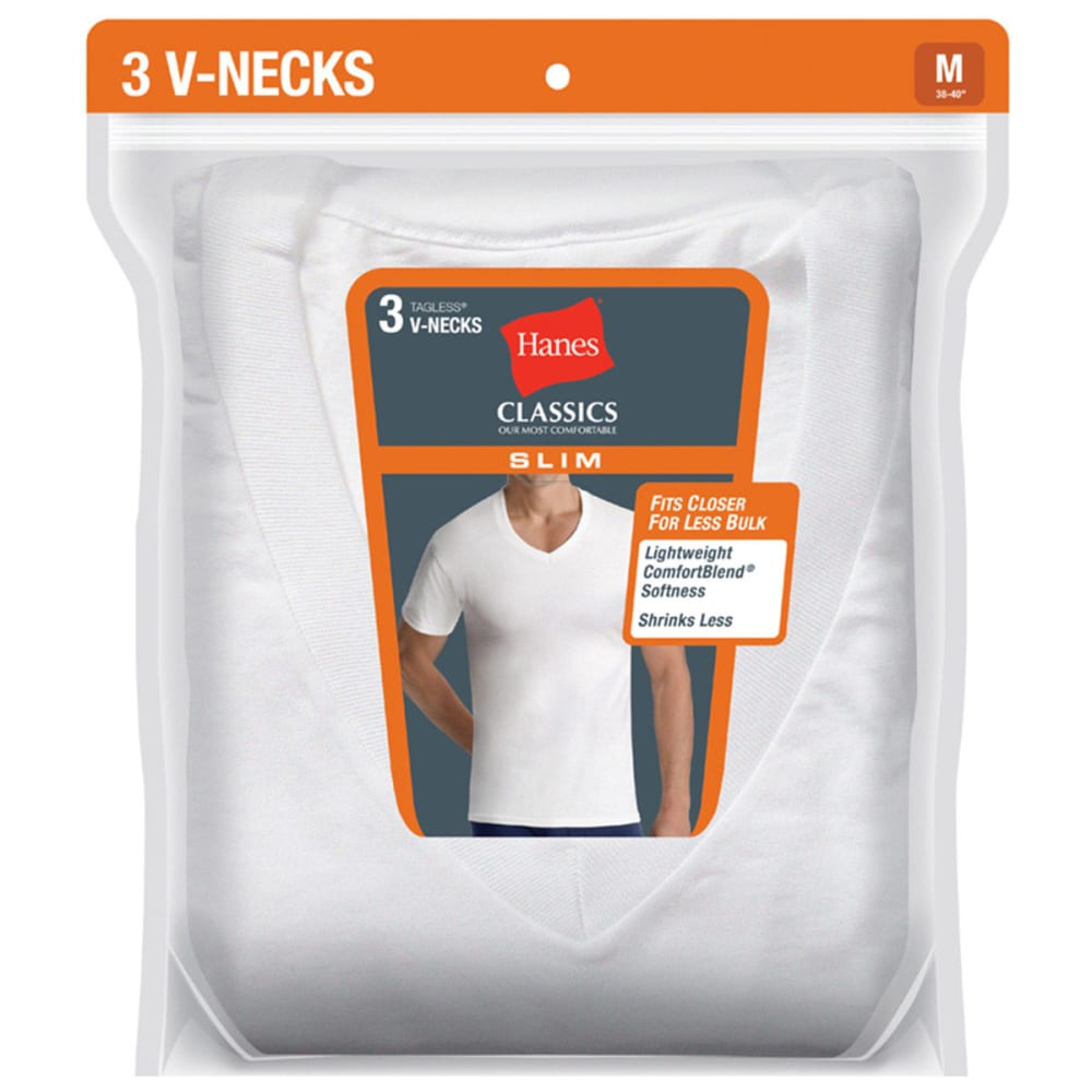 HANES Men's Classics Slim Fit V-Neck Tees, 3-Pack  - WHITE