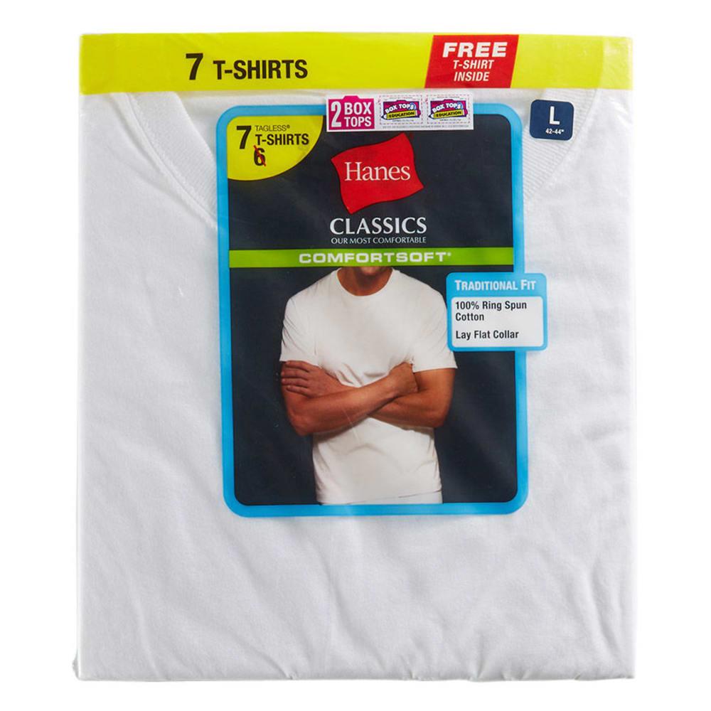 HANES Classics Men's Crew T-Shirt, 7-Pack - WHITE