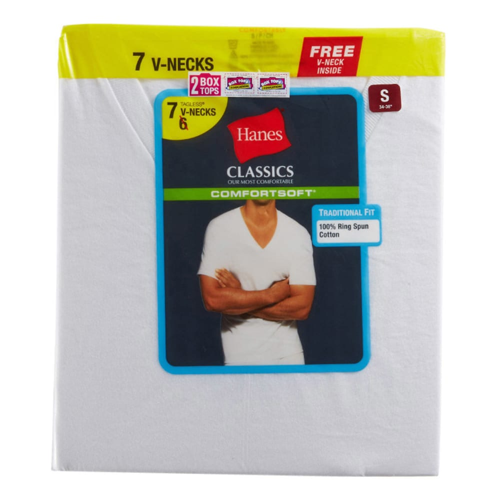HANES Classics Men's V-Neck Shirts, 7-Pack - WHITE