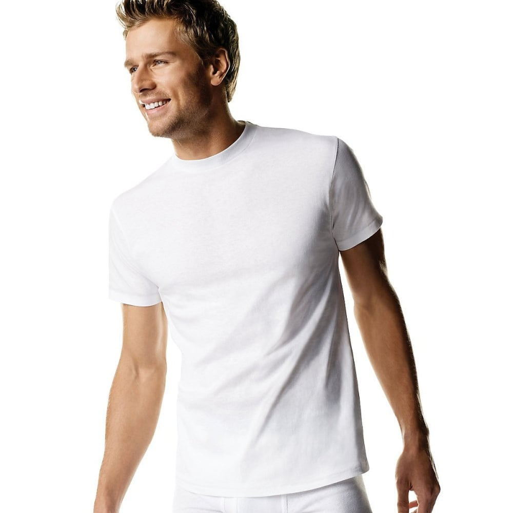 HANES Men's Ultimate Stretch Crew Shirts 3-Pack - WHITE