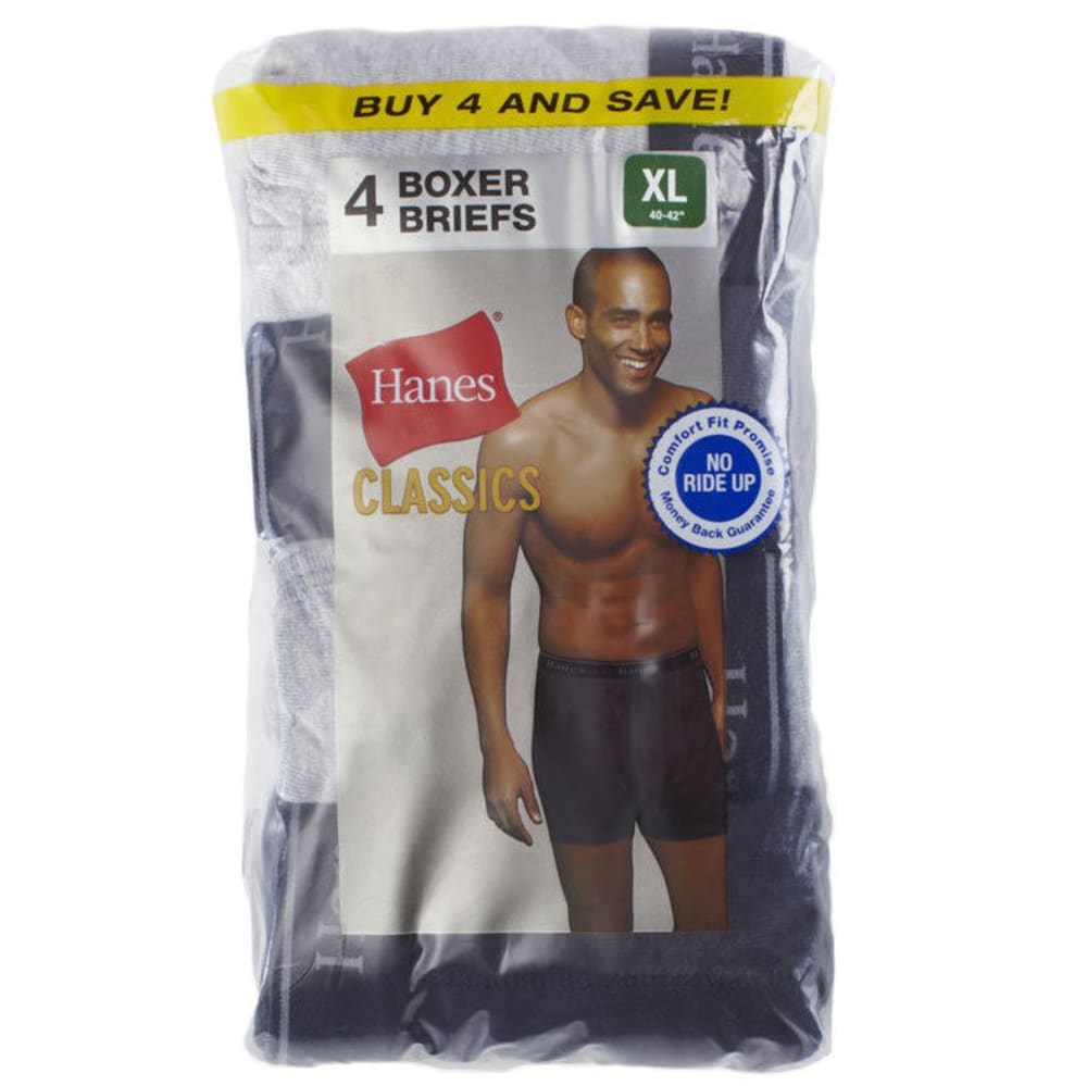 HANES Men's Tagless Boxer Briefs, 4-Pack - BLACK/GRY