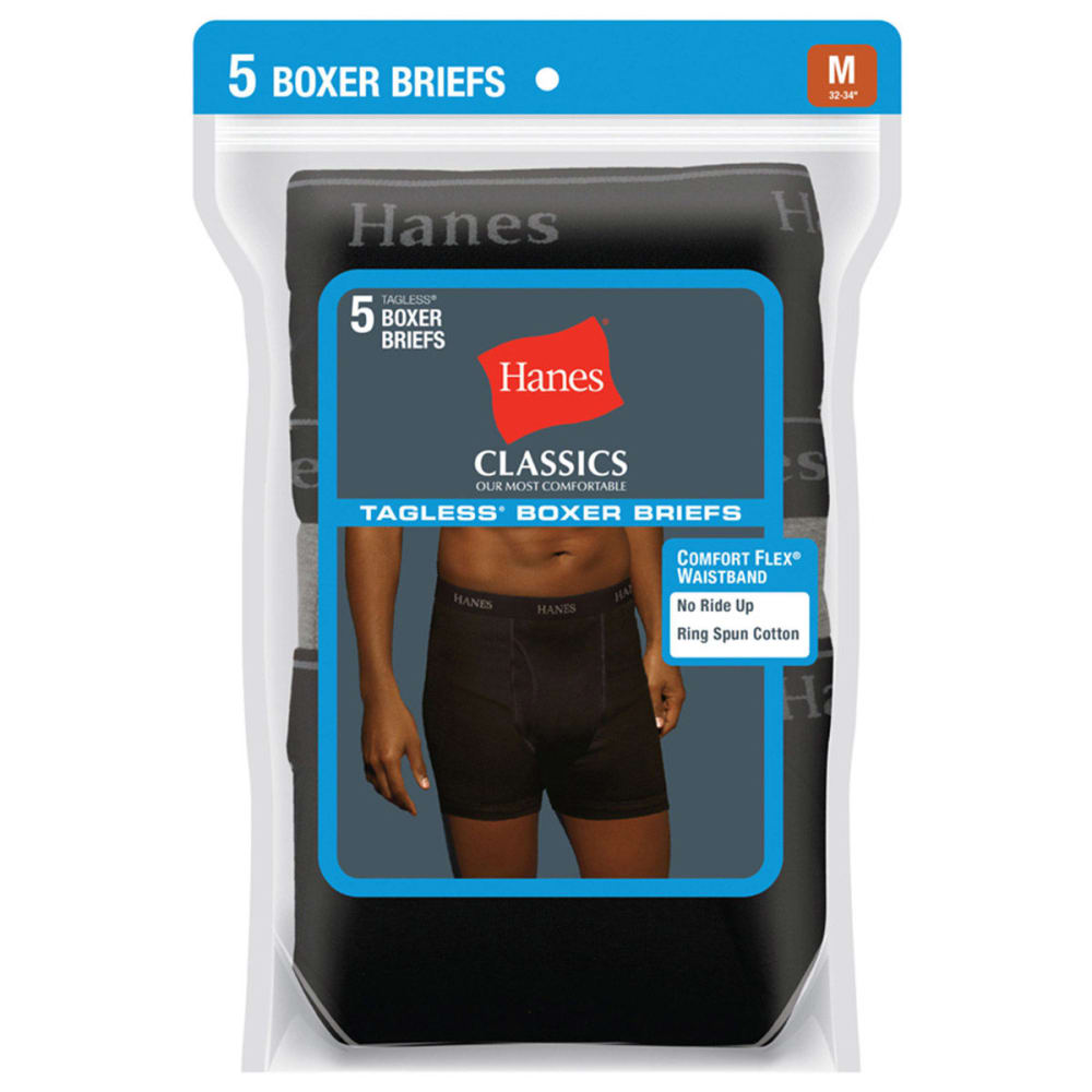 HANES Men's Classics Tagless Boxer Briefs, 5-Pack - BLACK/GREY
