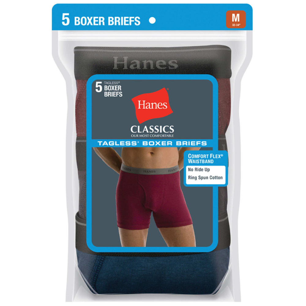 HANES Men's Classics Tagless Boxer Briefs, 5-Pack - ASSORTED