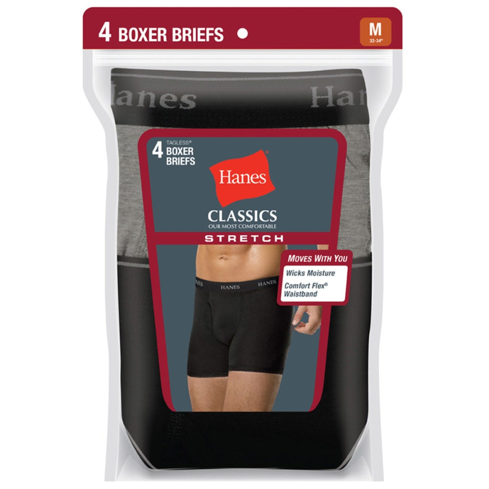 HANES Men's Classics Stretch Boxer Briefs, 4-Pack - BLACK/GREY