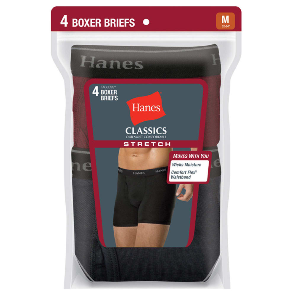HANES Men's Classics Stretch Boxer Briefs, 4-Pack  - ASSORTED