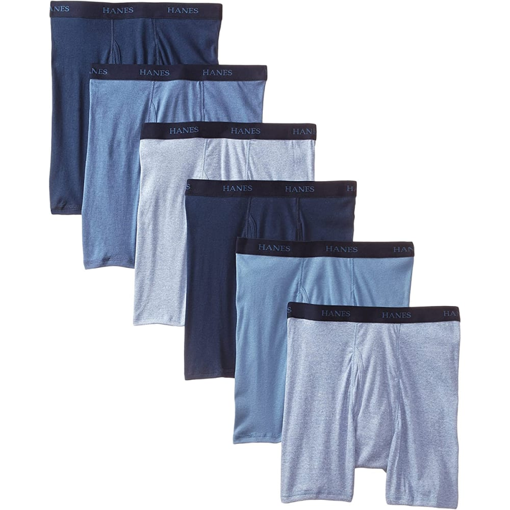 HANES Classics Men's Boxer Briefs, 6-Pack - BLACK/GREY