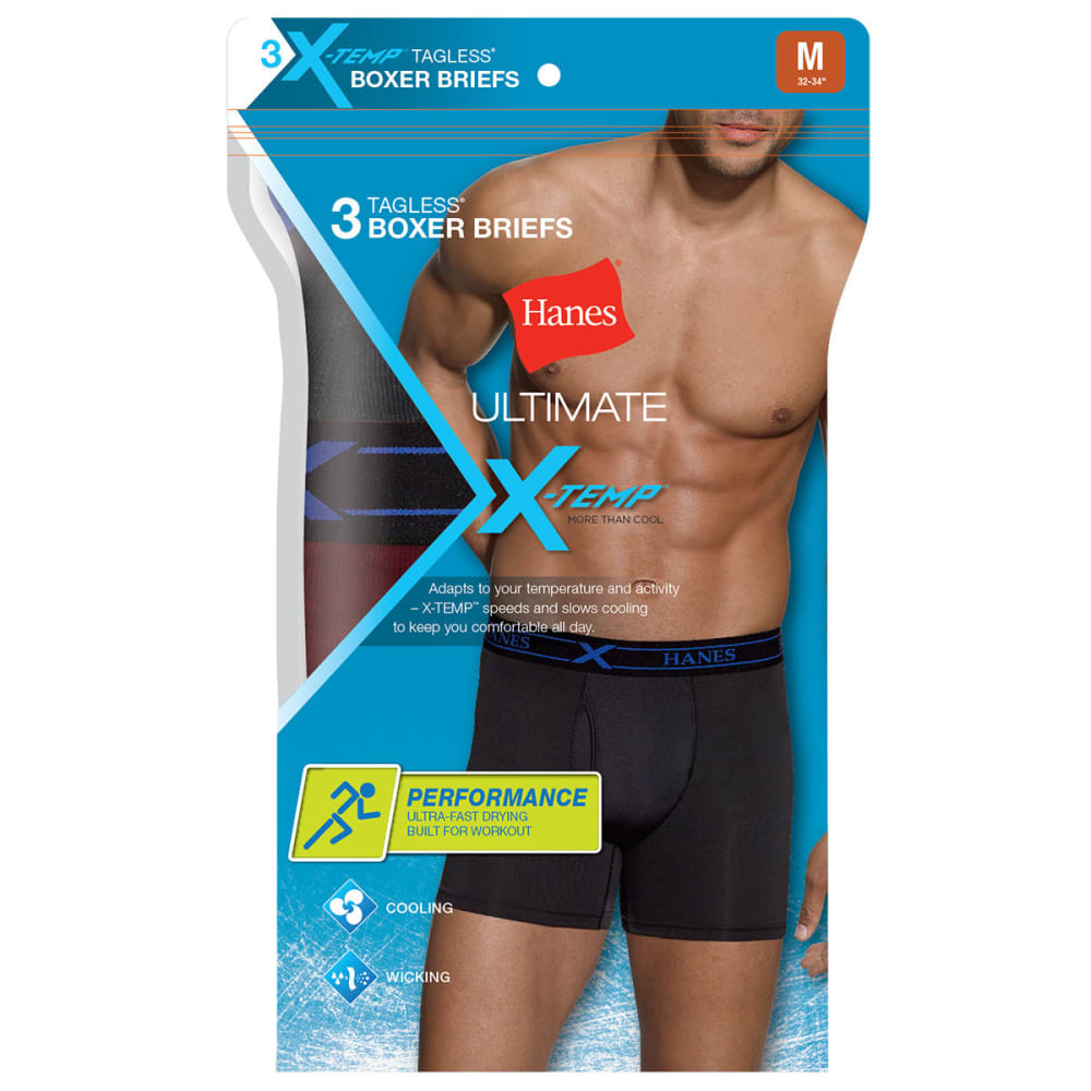 HANES Men's Ultimate X-Temp Performance Boxer Brief, 3-Pack - BLACK/GREY