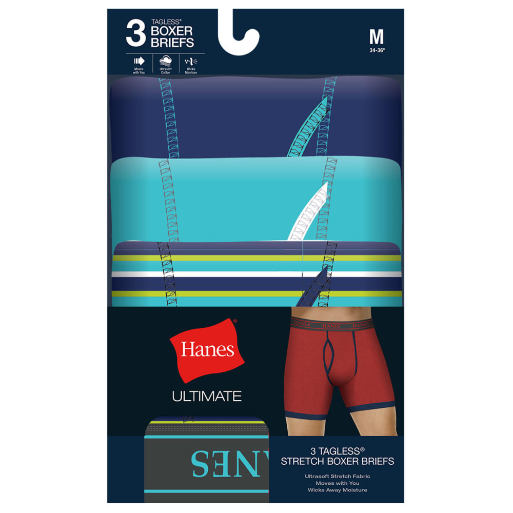 HANES Men's TAGLESS® Ultimate Stretch Boxer Briefs, 3 Pack - ASSORTED