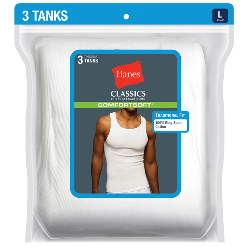 HANES Men's Classics ComfortSoft Tanks, 3-Pack  - WHITE