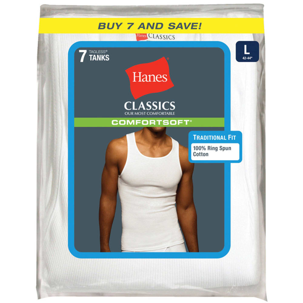 HANES Men's Classics ComfortSoft Tanks, 7-Pack  - WHITE