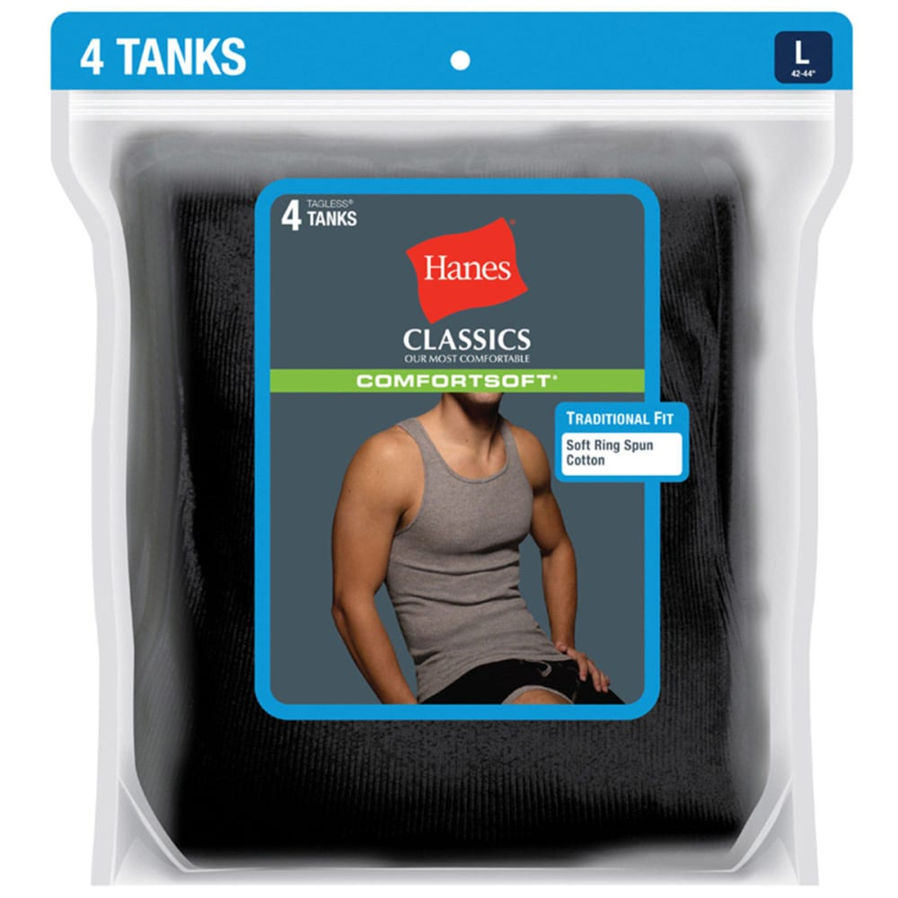 HANES Men's Classics ComfortSoft Tanks, 4-Pack - BLACK/GREY