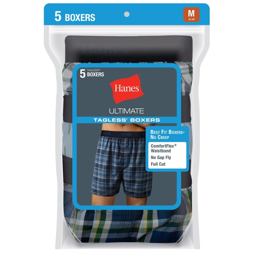 HANES Men's Classics Tagless Boxers, 5-Pack - ASSORTED