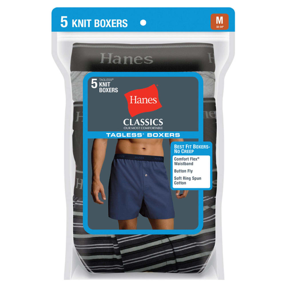 HANES Men's Classics Tagless Knit Boxers, 5-Pack - ASSORTED