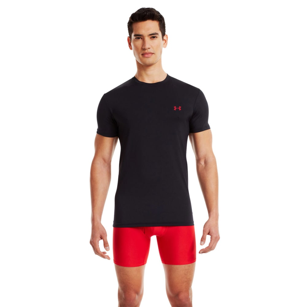 UNDER ARMOUR Men's HeatGear® Flyweight Crew Undershirt - BLACK