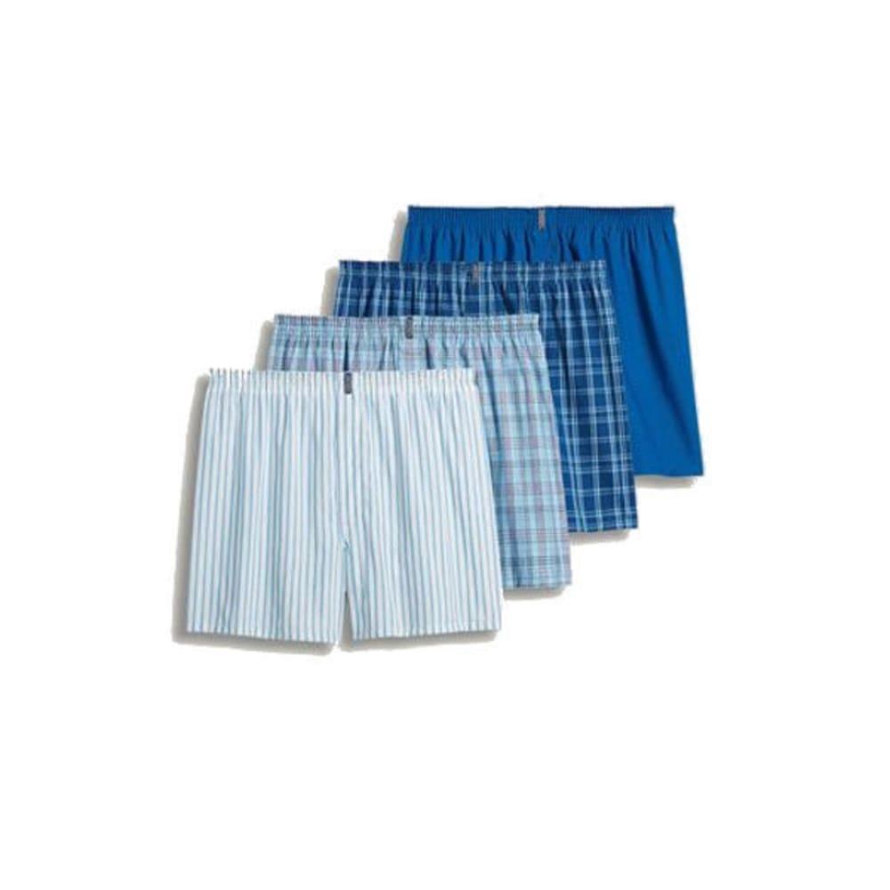 JOCKEY Men's Classic Full-Cut Woven Boxers, 4 Pack - HORIZON BLUE