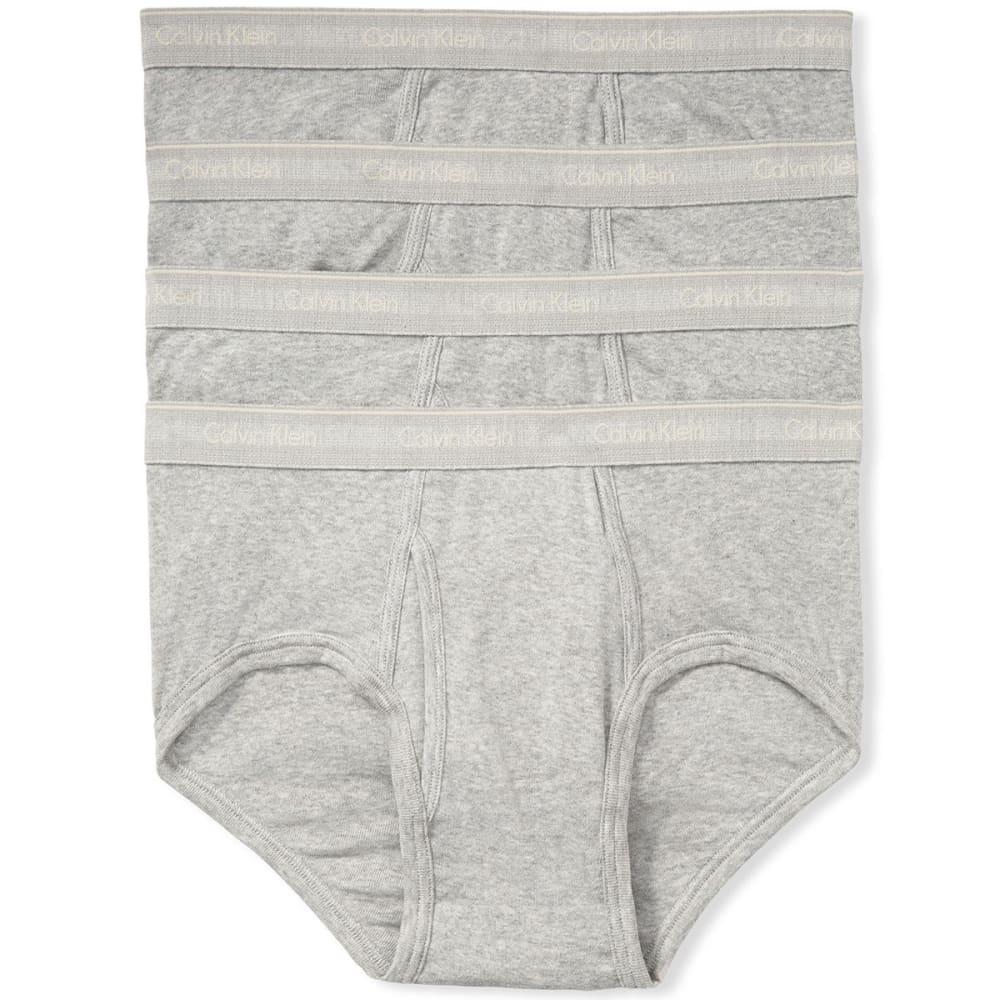 CALVIN KLEIN Men's Classic Cotton Basic Briefs, 4 Pack - GREY-020