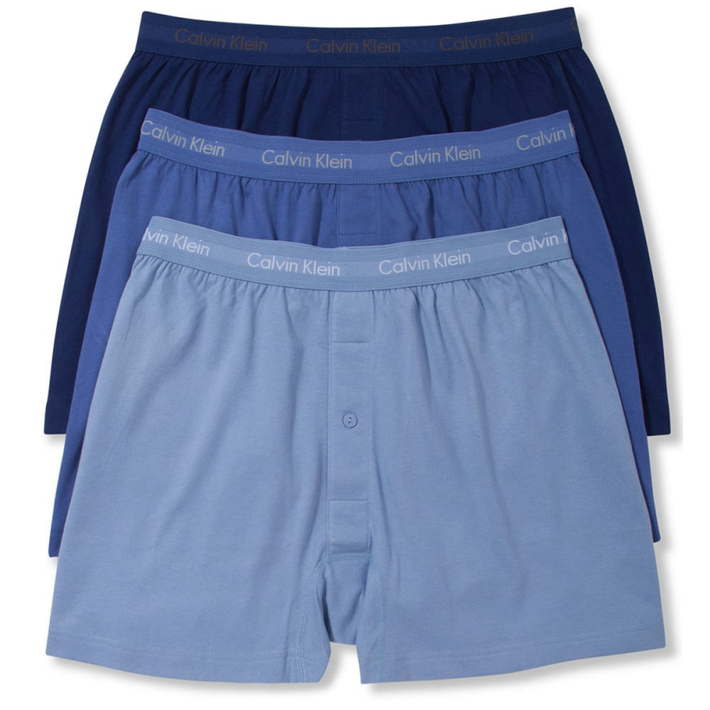 CALVIN KLEIN Men's Classic Cotton Knit Boxers, 3 Pack - HORIZON BLUE-400