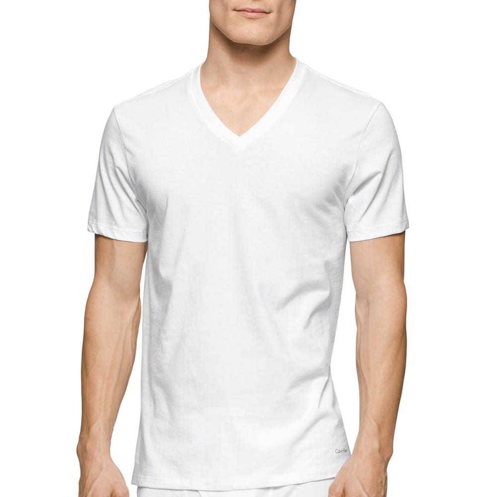 CALVIN KLEIN Men's Classic V-Neck Short-Sleeve Undershirts, 3 Pack - WHITE-100