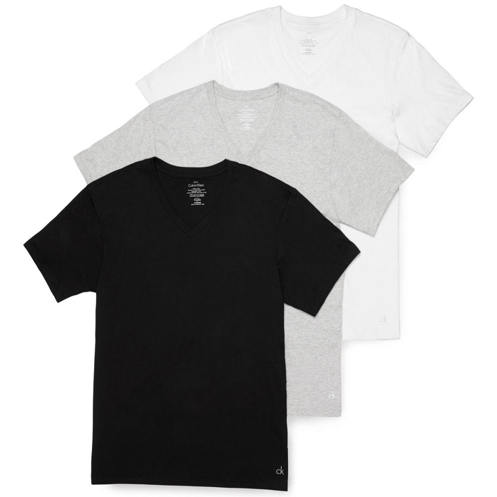CALVIN KLEIN Men's Classic V-Neck Short-Sleeve Undershirts, 3 Pack - ASSORTED-900