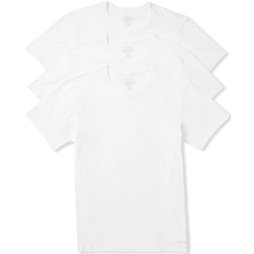 CALVIN KLEIN Men's Classic Crew Short-Sleeve Undershirts, 3 Pack - WHITE-100