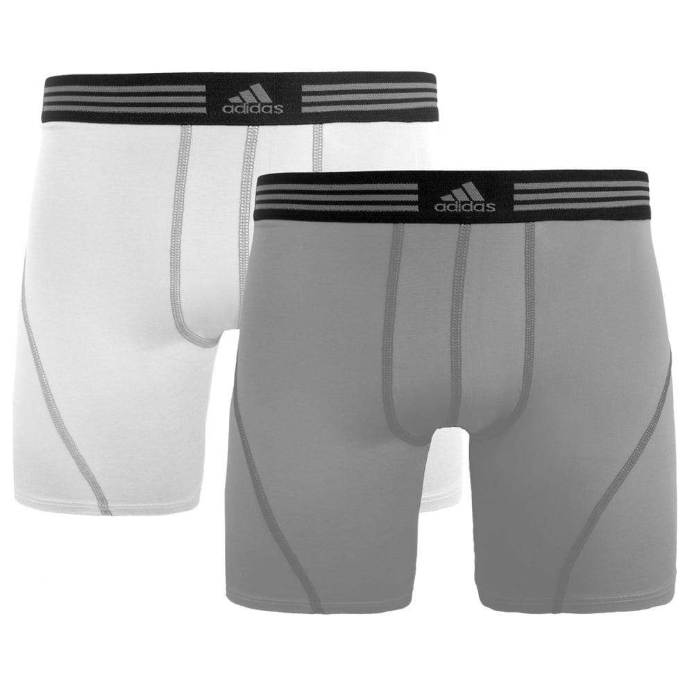 ADIDAS Men's ClimaLite Athletic Stretch Boxer Briefs, 2-Pack - WHITE/aluminum